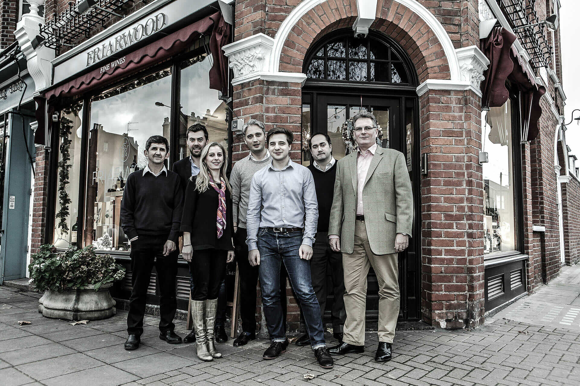 The Friarwood team are seen outside their store in London, the UK