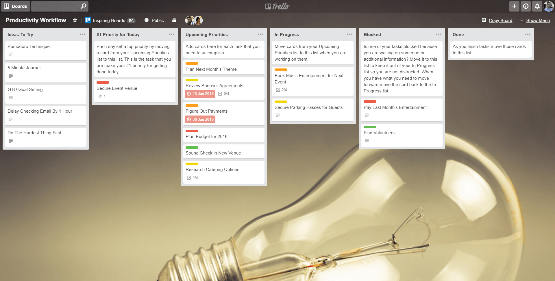 Trello Board Example Showing a Productivity Workflow