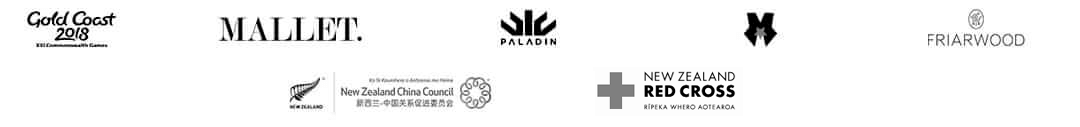 Grid showing the logos of E-commerce sites we have worked on. Logos include Gold Coast Commonwealth Games, Mallet, Paladin, Makeupnet, Friarwood, NZ China Council, and I Love Paris